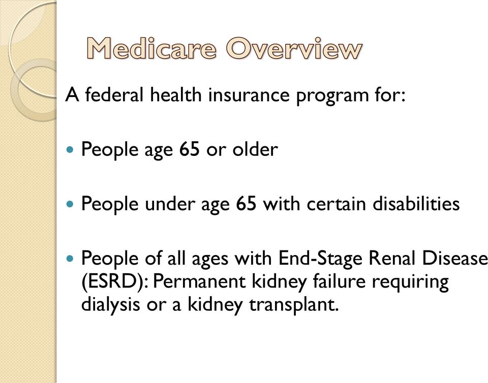 People of all ages with End-Stage Renal Disease (ESRD):