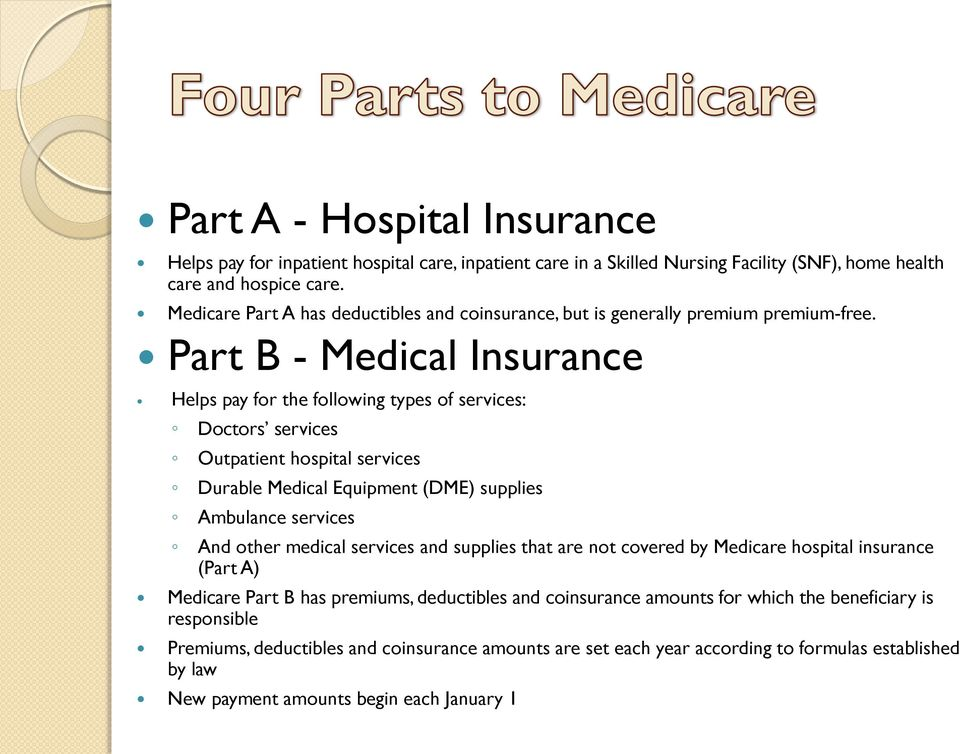 Part B - Medical Insurance Helps pay for the following types of services: Doctors services Outpatient hospital services Durable Medical Equipment (DME) supplies Ambulance services And other