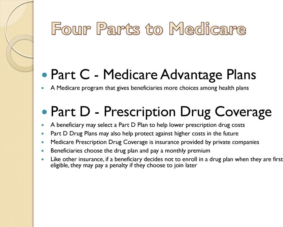 future Medicare Prescription Drug Coverage is insurance provided by private companies Beneficiaries choose the drug plan and pay a monthly premium