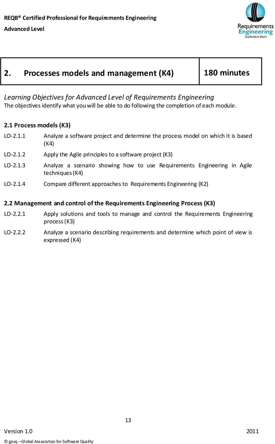 Analyze a scenario showing how to use Requirements Engineering in Agile techniques (K4) Compare different approaches to Requirements Engineering (K2) 2.