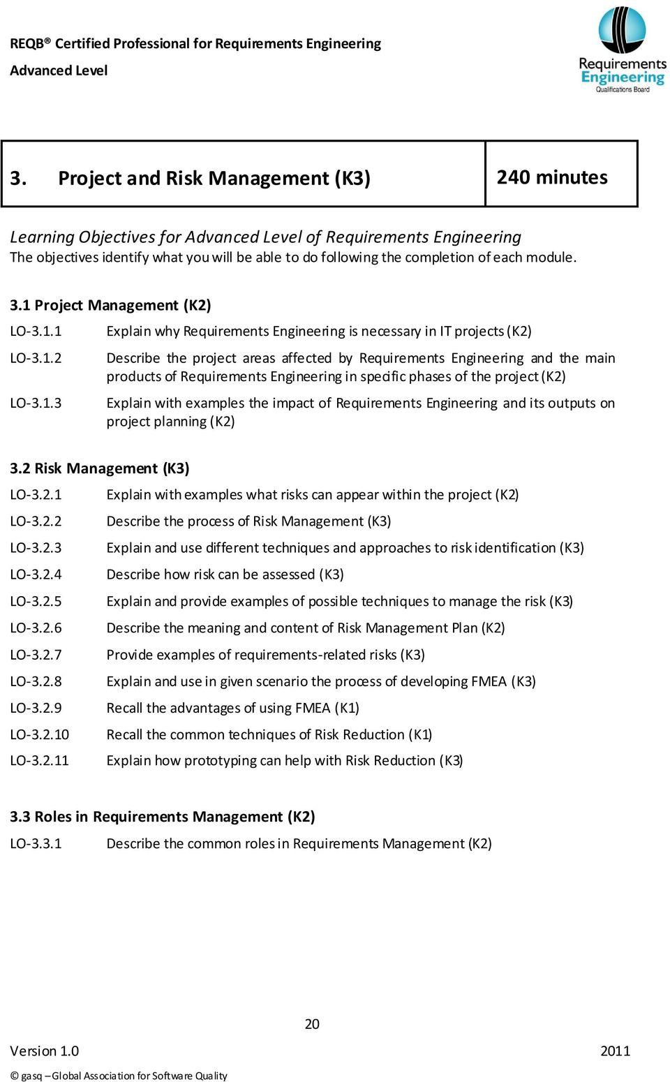 products of Requirements Engineering in specific phases of the project (K2) Explain with examples the impact of Requirements Engineering and its outputs on project planning (K2) 3.