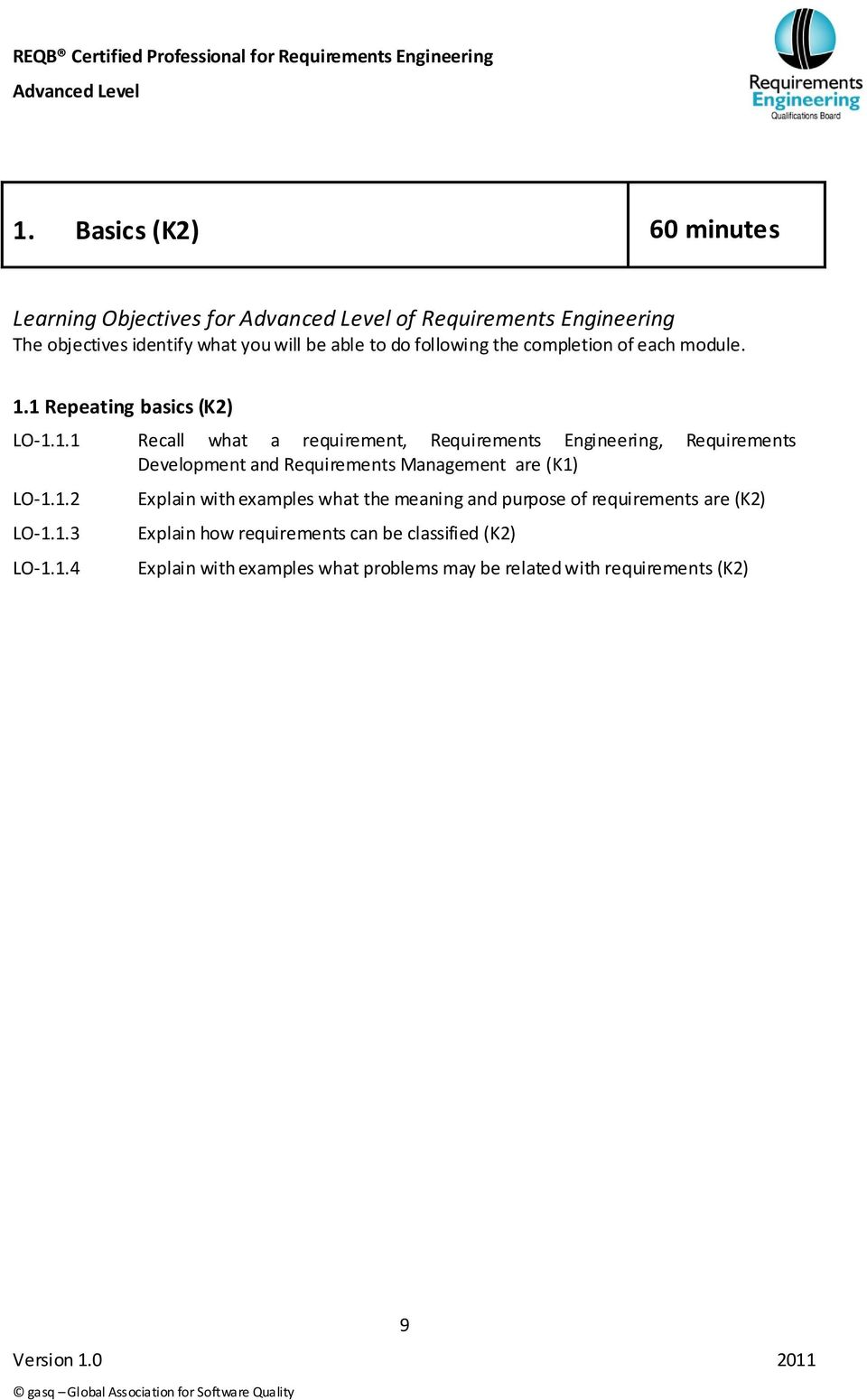1 Repeating basics (K2) LO-1.1.1 Recall what a requirement, Requirements Engineering, Requirements Development and Requirements Management are (K1) LO-1.