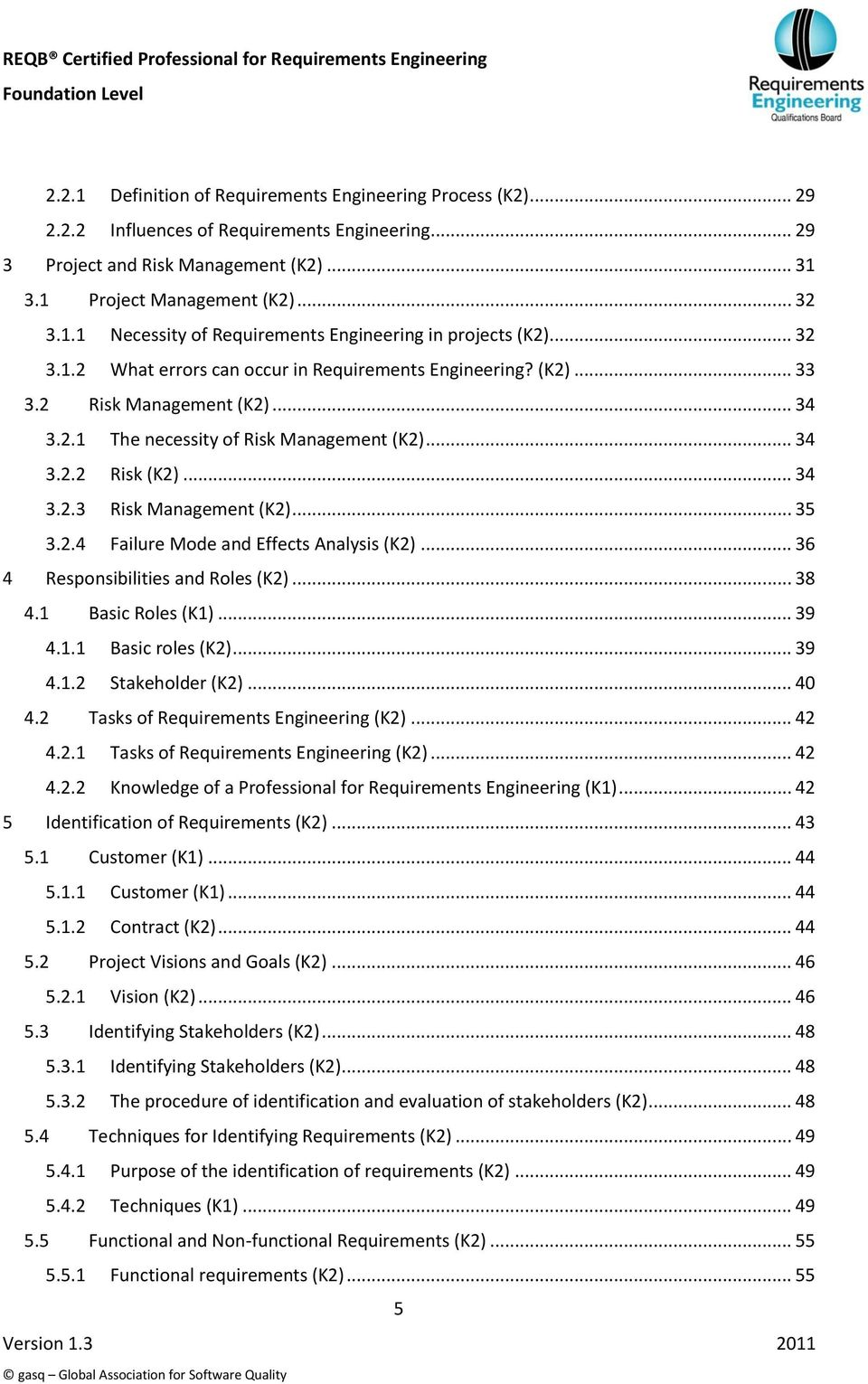 .. 35 3.2.4 Failure Mode and Effects Analysis (K2)... 36 4 Responsibilities and Roles (K2)... 38 4.1 Basic Roles (K1)... 39 4.1.1 Basic roles (K2)... 39 4.1.2 Stakeholder (K2)... 40 4.