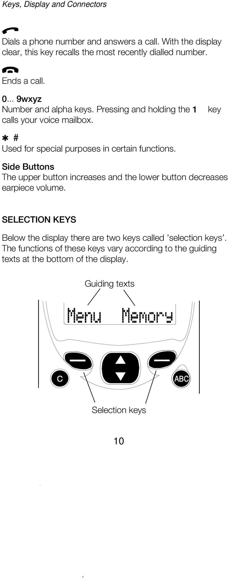 Side Buttons The upper button increases and the lower button decreases earpiece volume. SELECTION KEYS Below the display there are two keys called selection keys.