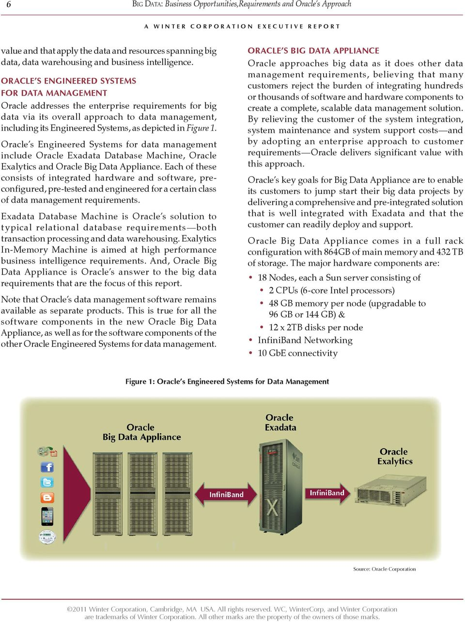 Figure 1. Oracle s Engineered Systems for data management include Oracle Exadata Database Machine, Oracle Exalytics and Oracle Big Data Appliance.