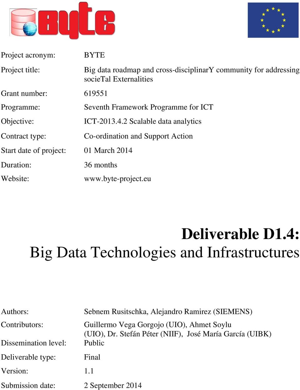 2 Scalable data analytics Co-ordination and Support Action 36 months www.byte-project.eu Deliverable D1.