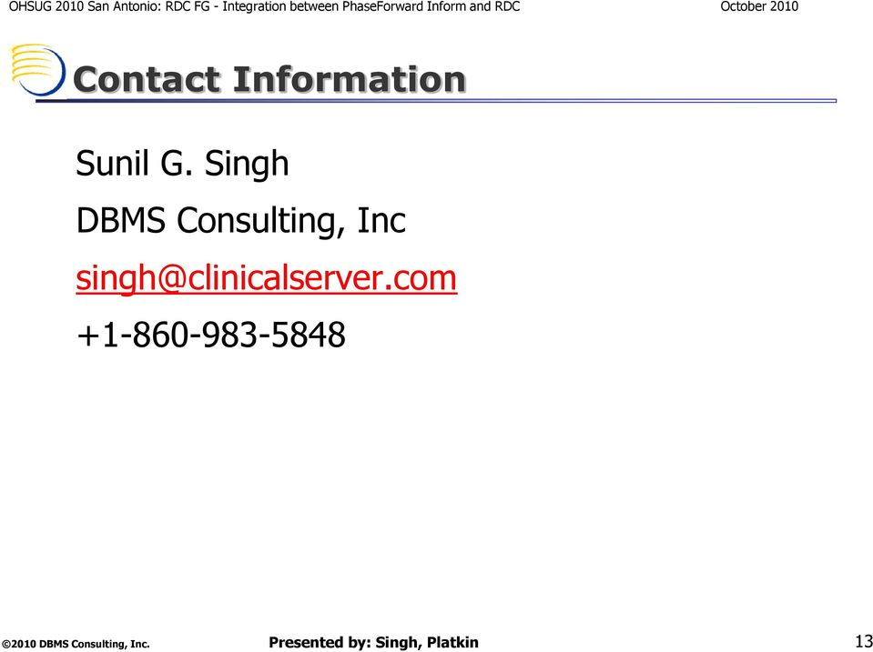 Singh DBMS Consulting,
