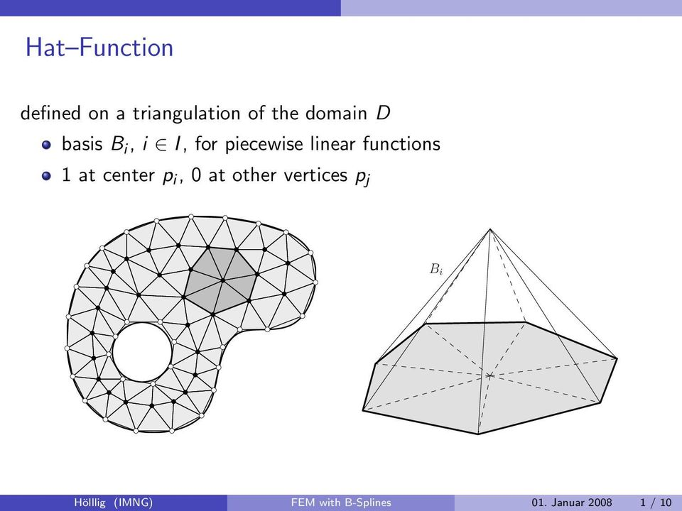 functions 1 at center p i, 0 at other vertices p j