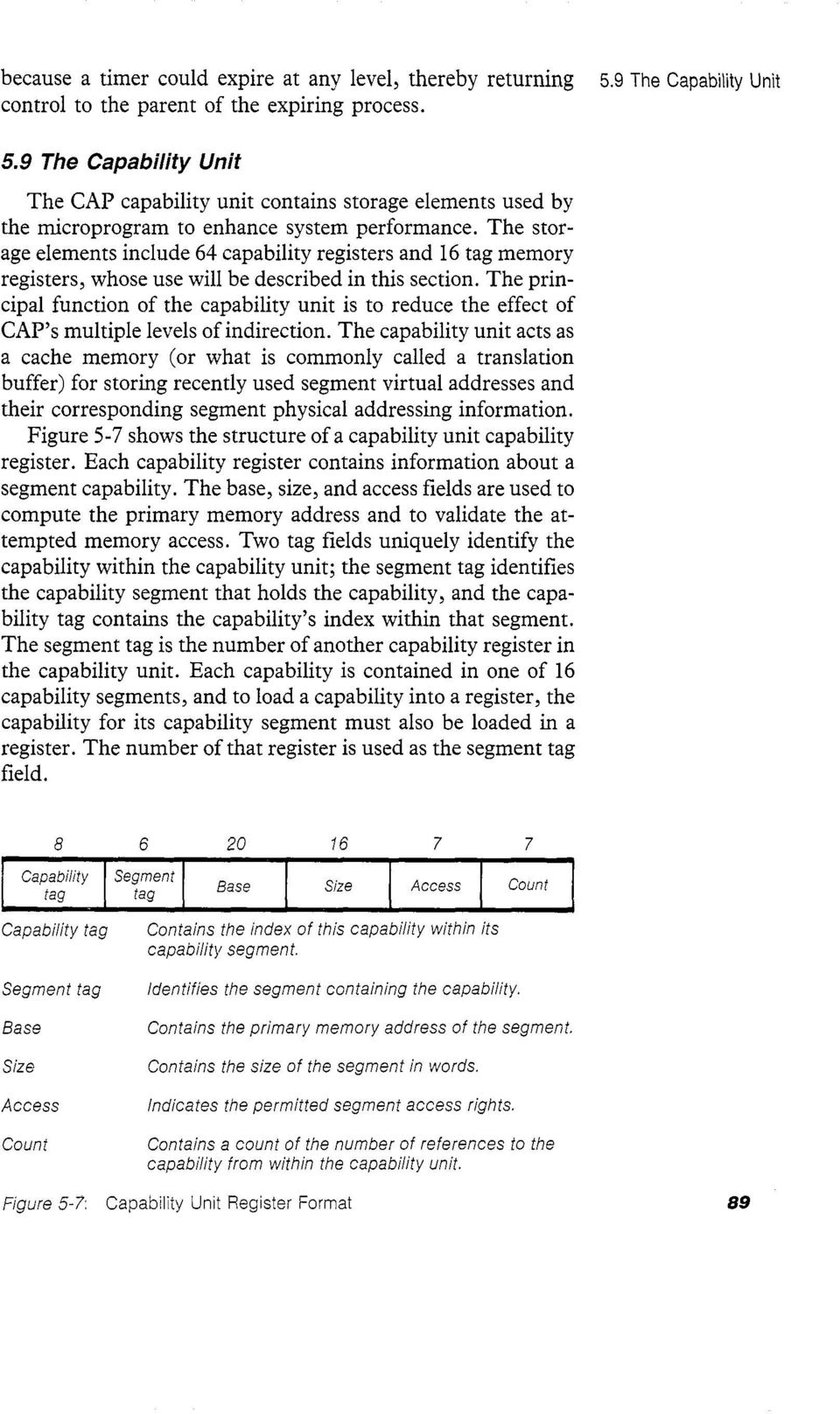 The principal function of the capability unit is to reduce the effect of CAP s multiple levels of indirection.