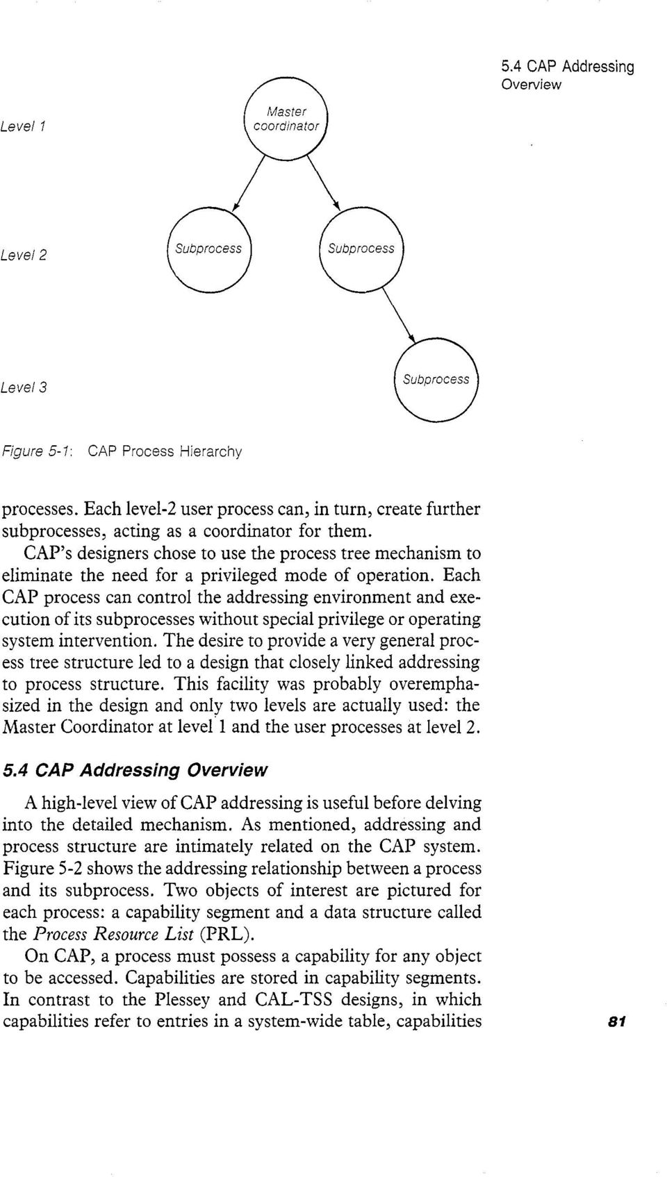 CAP s designers chose to use the process tree mechanism to eliminate the need for a privileged mode of operation.
