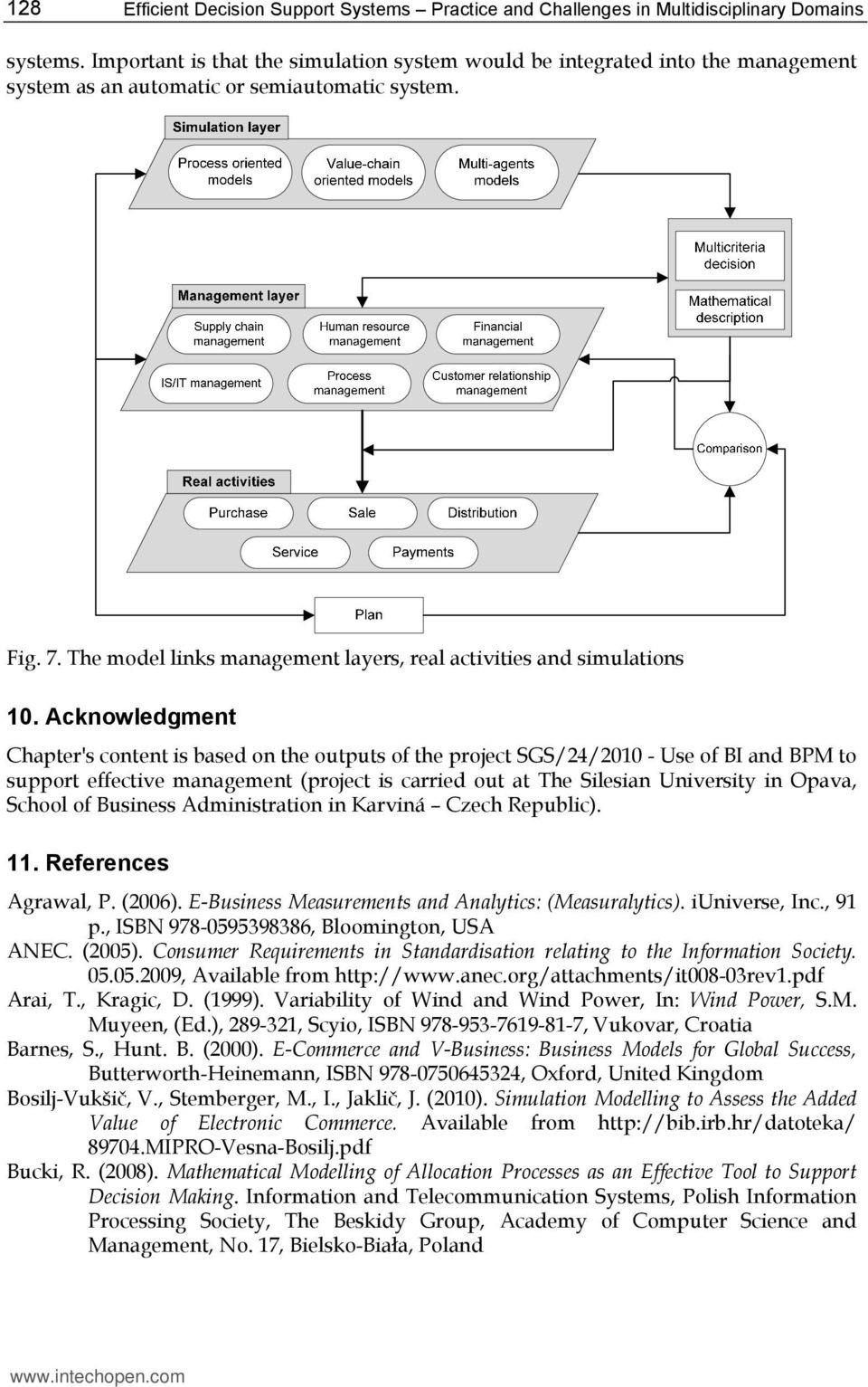 The model links management layers, real activities and simulations 10.