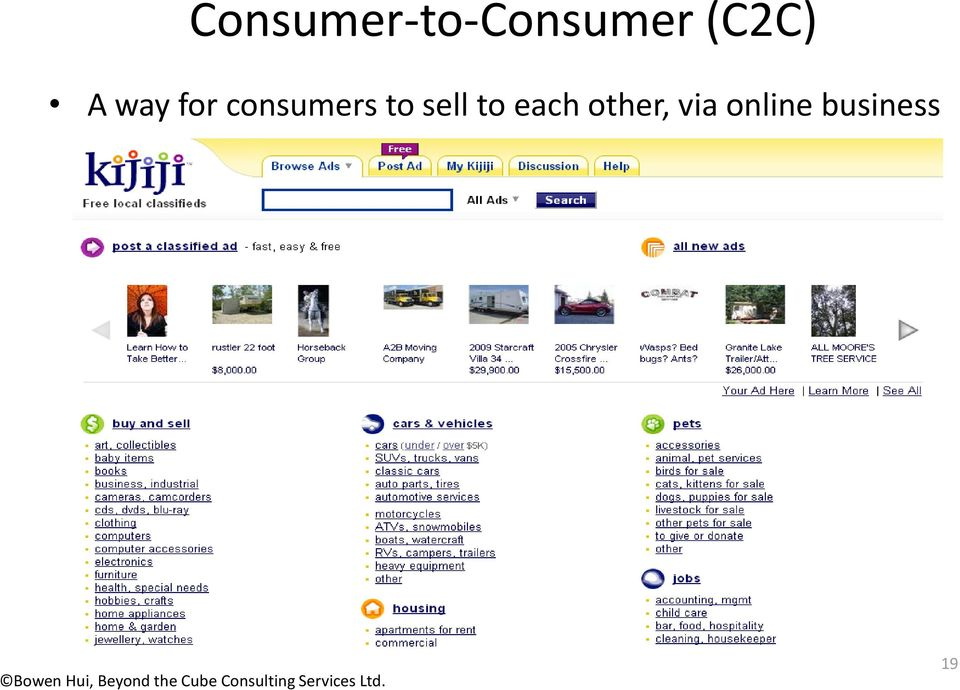 consumers to sell to