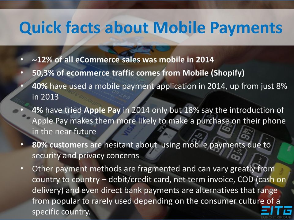 80% customers are hesitant about using mobile payments due to security and privacy concerns Other payment methods are fragmented and can vary greatly from country to country