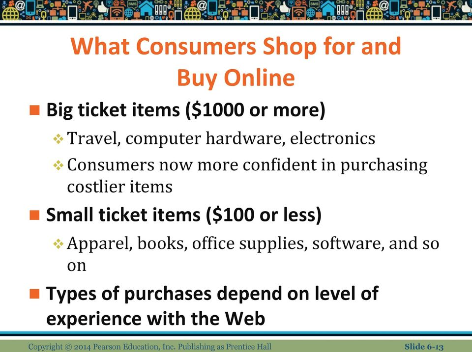less) Apparel, books, office supplies, software, and so on Types of purchases depend on level of
