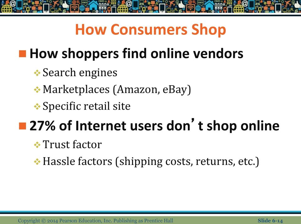 don t shop online Trust factor Hassle factors (shipping costs, returns,