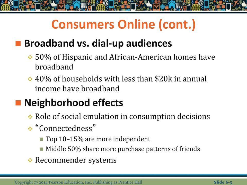 $20k in annual income have broadband Neighborhood effects Role of social emulation in consumption decisions