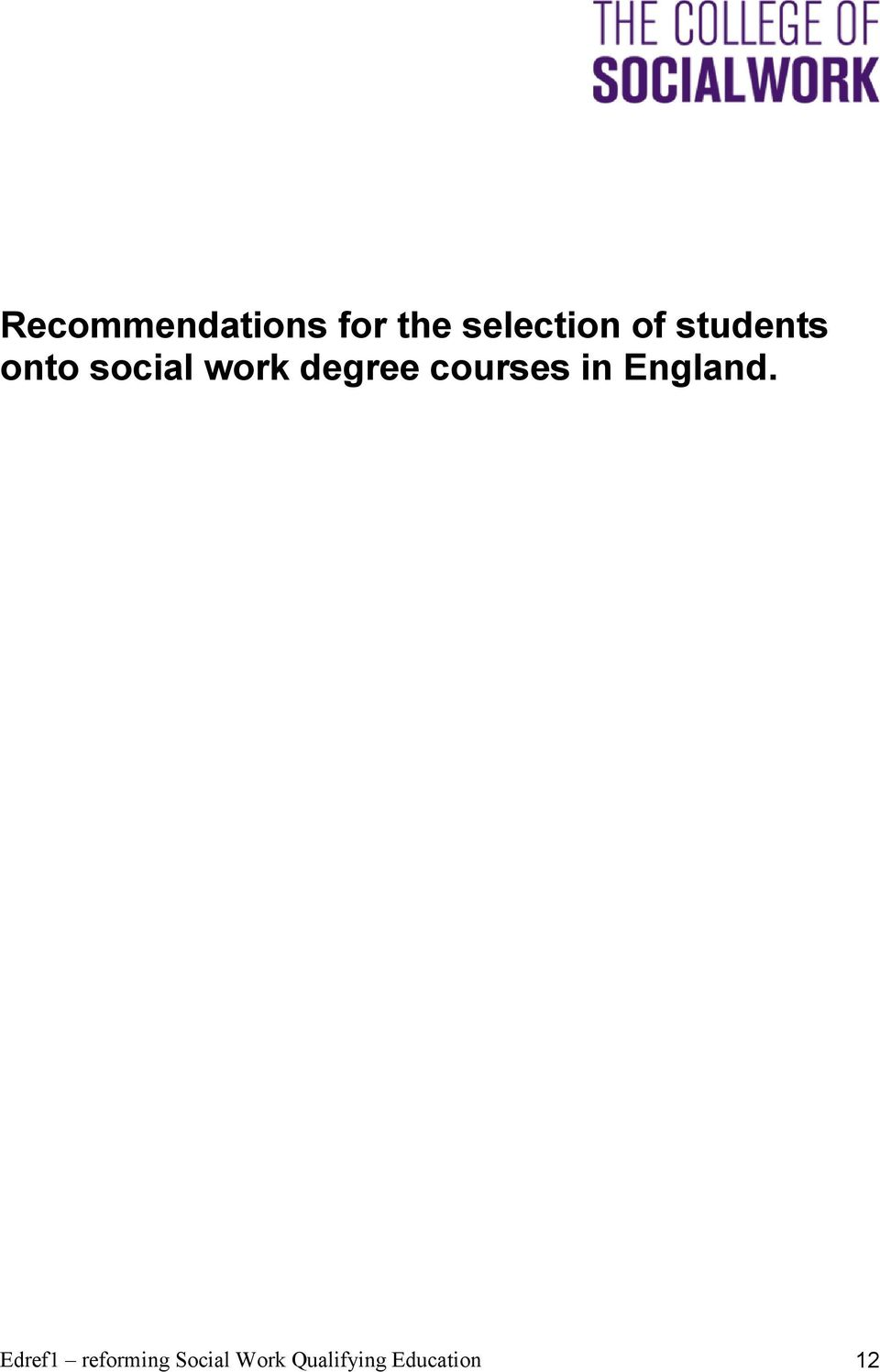 courses in England.