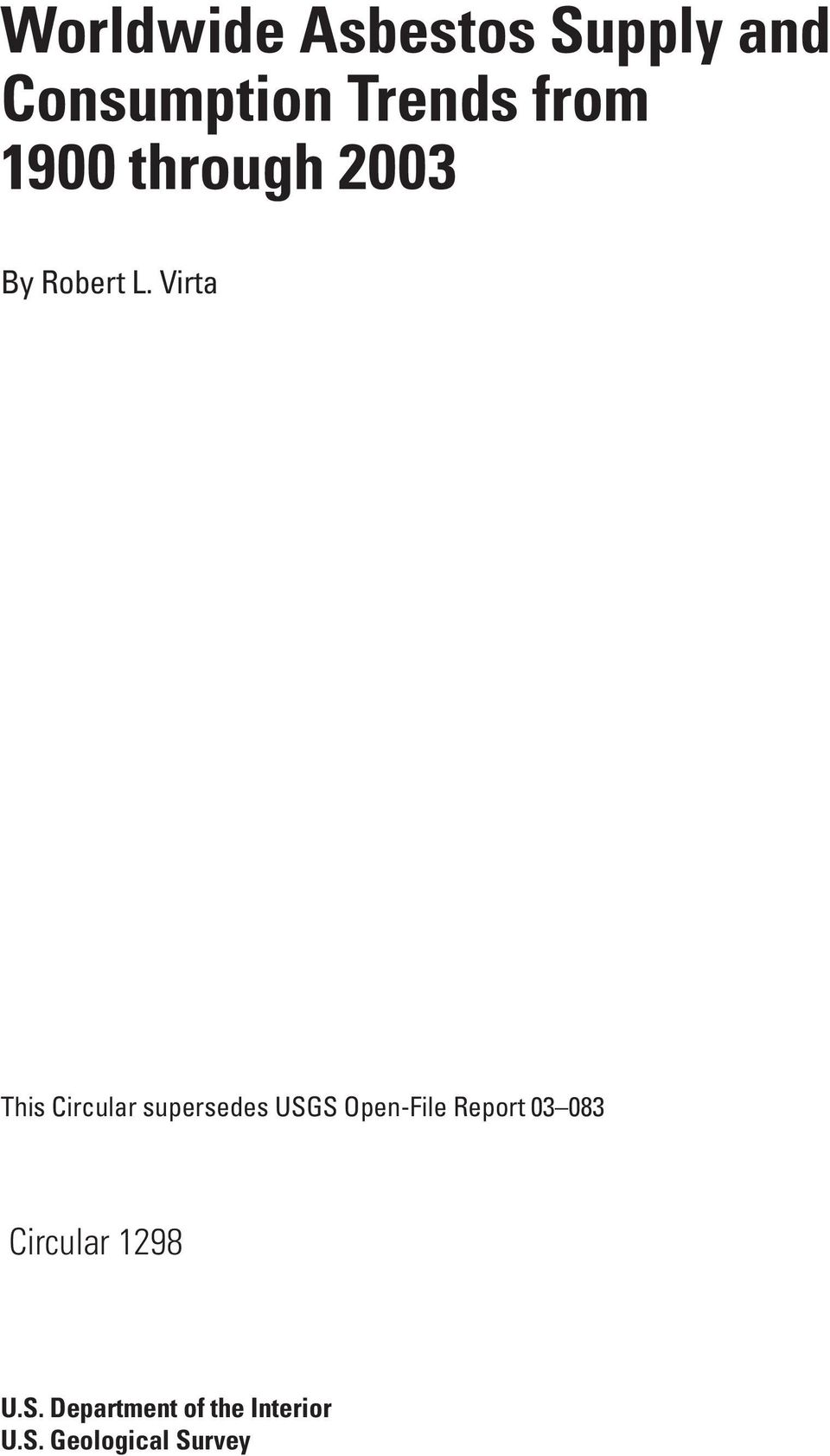 Virta This Circular supersedes USGS Open-File Report