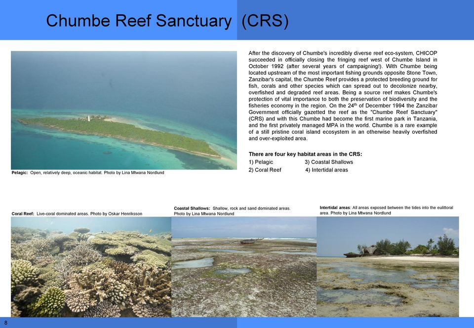 With Chumbe being located upstream of the most important fishing grounds opposite Stone Town, Zanzibar's capital, the Chumbe Reef provides a protected breeding ground for fish, corals and other