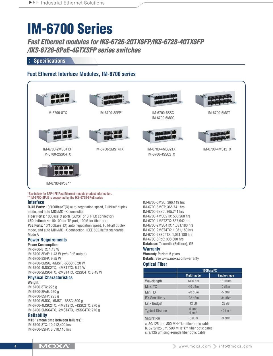 Ethernet module product information.