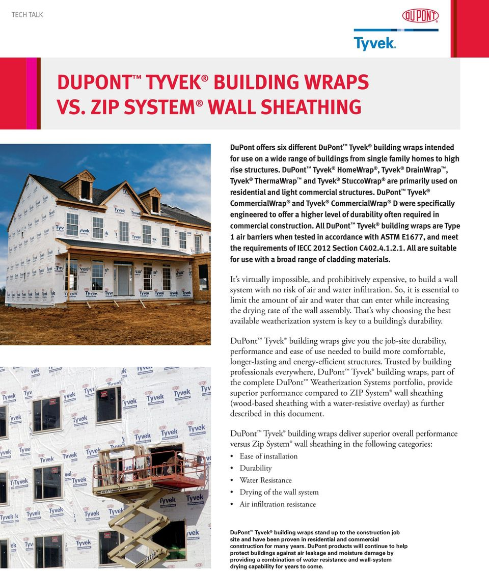 DuPont Tyvek HomeWrap, Tyvek DrainWrap, Tyvek ThermaWrap and Tyvek StuccoWrap are primarily used on residential and light commercial structures.