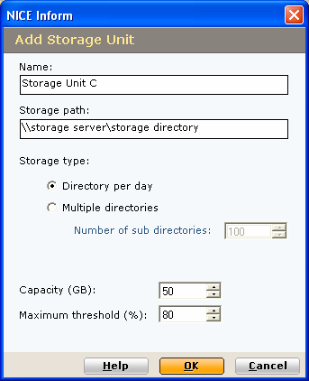 Adding a NICE Perform Storage Center unit To add a new NICE Perform Storage Center unit: 1 From within the Storage Units page, click the Add storage unit button and the Add Storage Unit dialog is