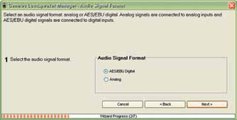 Audio Cable Definition Figure 124. Signal Format window first window of the Manual Cabling Wizard. At this stage the GLM must know if the audio is analog or digital (AES/EBU).
