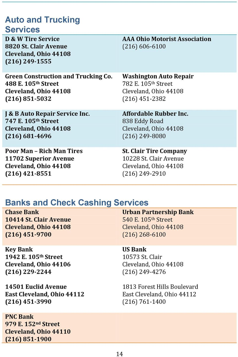 105 th Street (216) 451-2382 Affordable Rubber Inc. 838 Eddy Road (216) 249-8080 St. Clair Tire Company 10228 St. Clair Avenue (216) 249-2910 Banks and Check Cashing Services Chase Bank 10414 St.