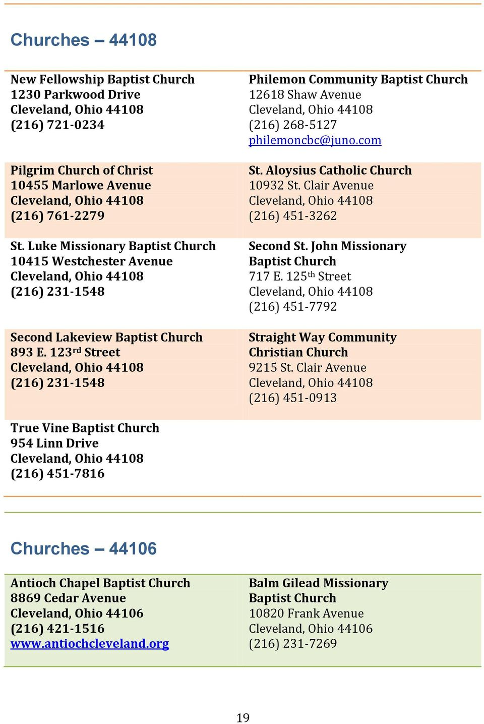123 rd Street (216) 231-1548 Philemon Community Baptist Church 12618 Shaw Avenue (216) 268-5127 philemoncbc@juno.com St. Aloysius Catholic Church 10932 St. Clair Avenue (216) 451-3262 Second St.