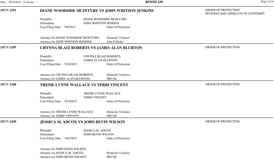 JAMES ALAN BLURTON Case Filing Date: 9/10/2015 Order of Protection 15CV-1368 Attorney for CHYNNA BLAIZ ROBERTS: Attorney for JAMES ALAN BLURTON: TRESIE LYNNE WALLACE VS TERRI VINCENT TRESIE LYNNE