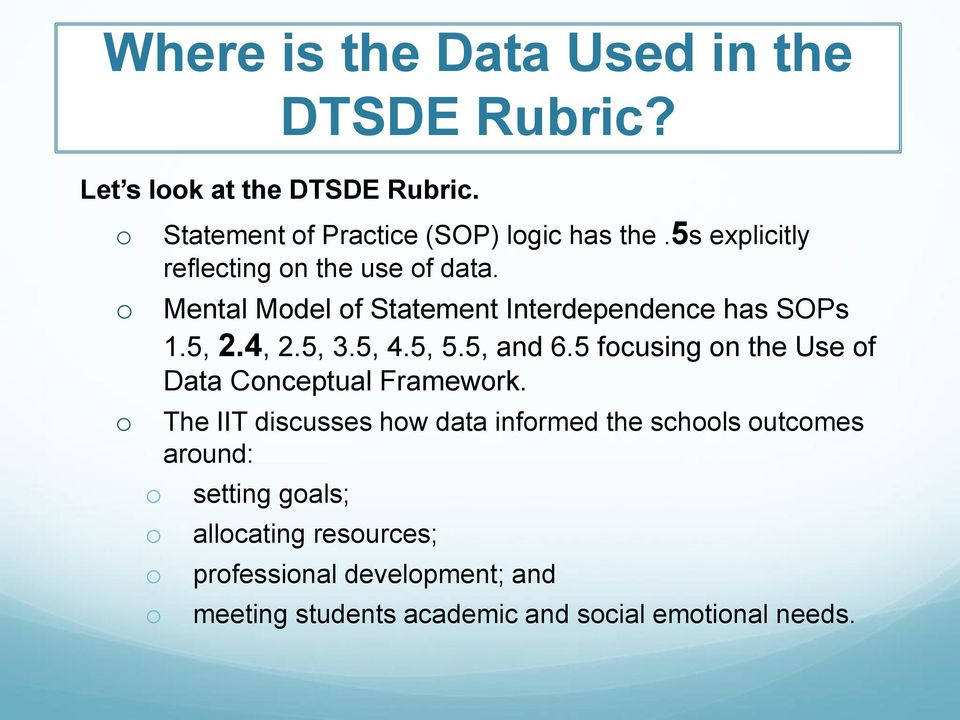 5, and 6.5 focusing on the Use of Data Conceptual Framework.