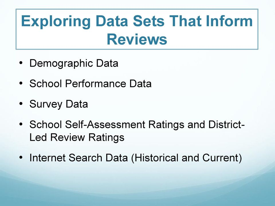 Self-Assessment Ratings and District- Led Review
