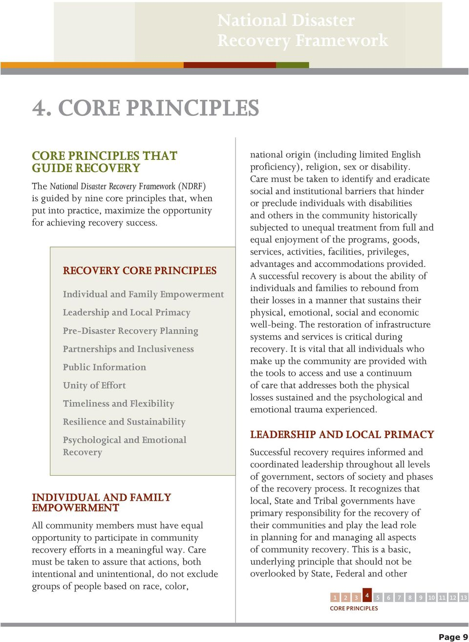 RECOVERY CORE PRINCIPLES. Individual and Family Empowerment. Leadership and Local Primacy. Pre-Disaster Recovery Planning. Partnerships and Inclusiveness. Public Information. Unity of Effort.