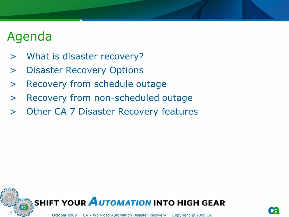 schedule outage > Recovery from