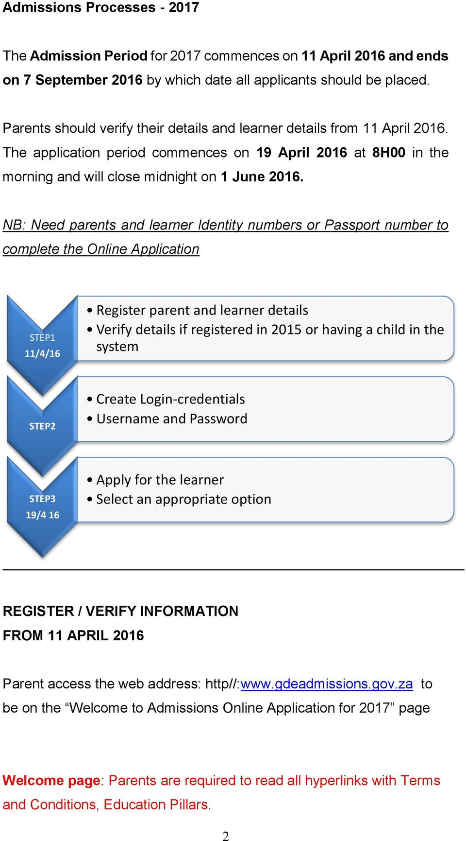 NB: Need parents and learner Identity numbers or Passport number to complete the Online Application STEP1 11/4/16 Register parent and learner details Verify details if registered in 2015 or having a
