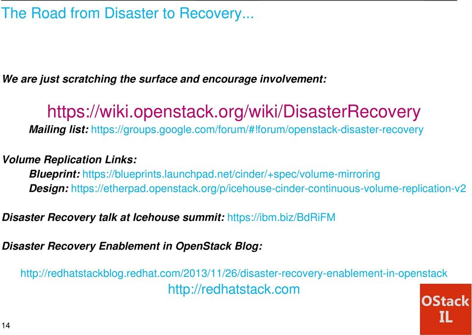 forum/openstack-disaster-recovery Volume Replication Links: Blueprint: https://blueprints.launchpad.net/cinder/+spec/volume-mirroring Design: https://etherpad.