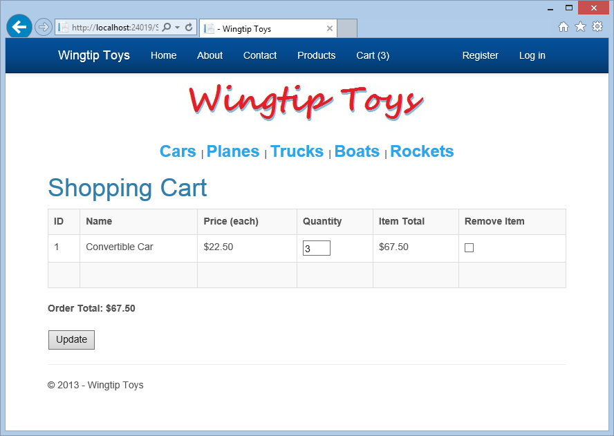 7. Click the Update button to update the shopping cart page and display the new order total.