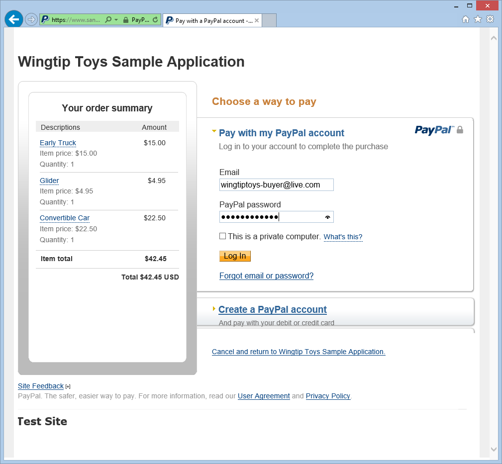 10. On the PayPal test site, add your buyer email address and password