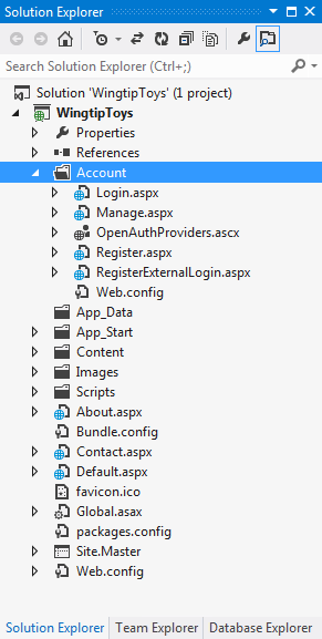 By default, the template creates a membership database a default database name on an instance of SQL Server Express LocalDB, the development database server that comes with Visual Studio Express 2013