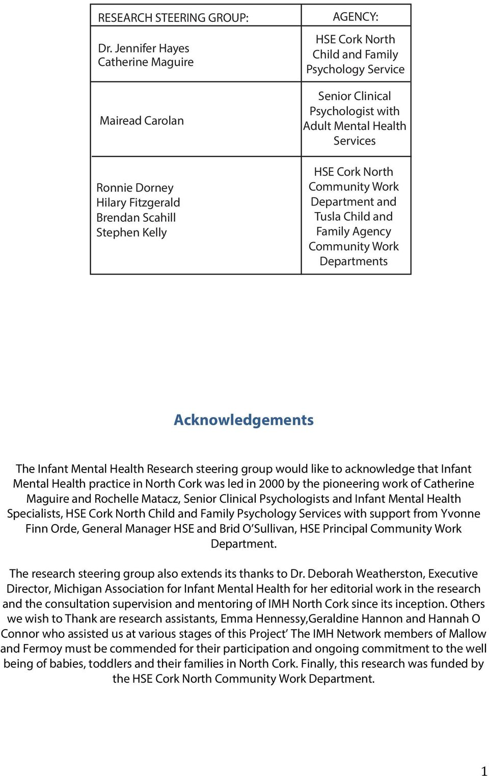 with Adult Mental Health Services HSE Cork North Community Work Department and Tusla Child and Family Agency Community Work Departments ING GROUP: Acknowledgements The Infant Mental Health Research