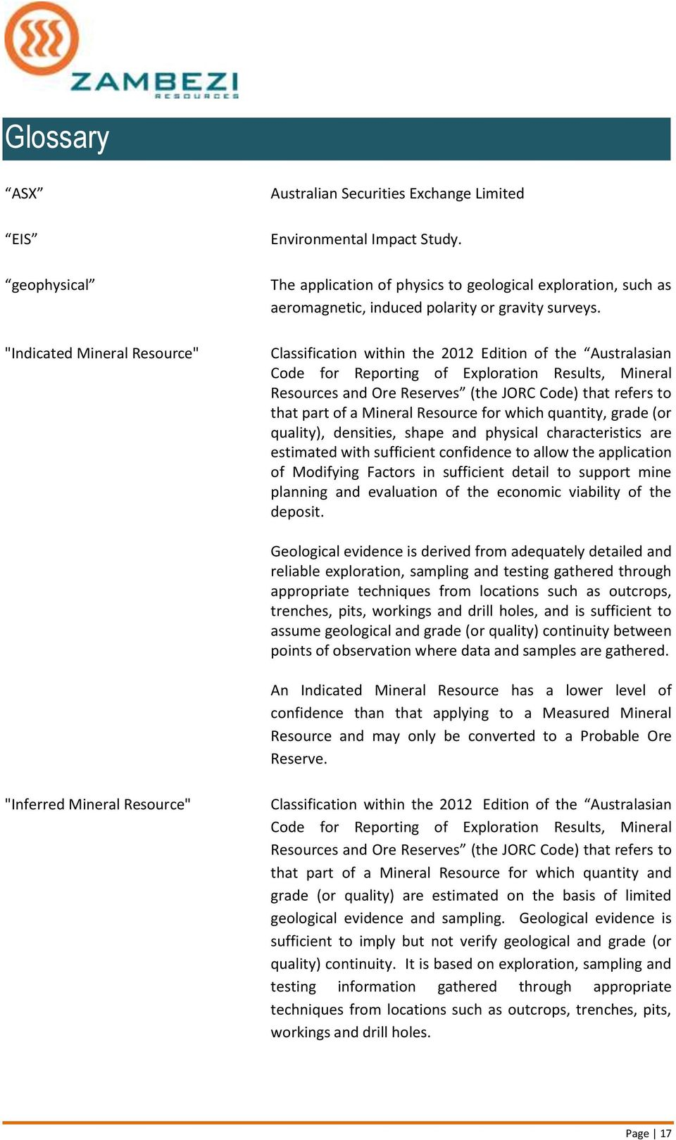 Classification within the 2012 Edition of the Australasian Code for Reporting of Exploration Results, Mineral Resources and Ore Reserves (the JORC Code) that refers to that part of a Mineral Resource