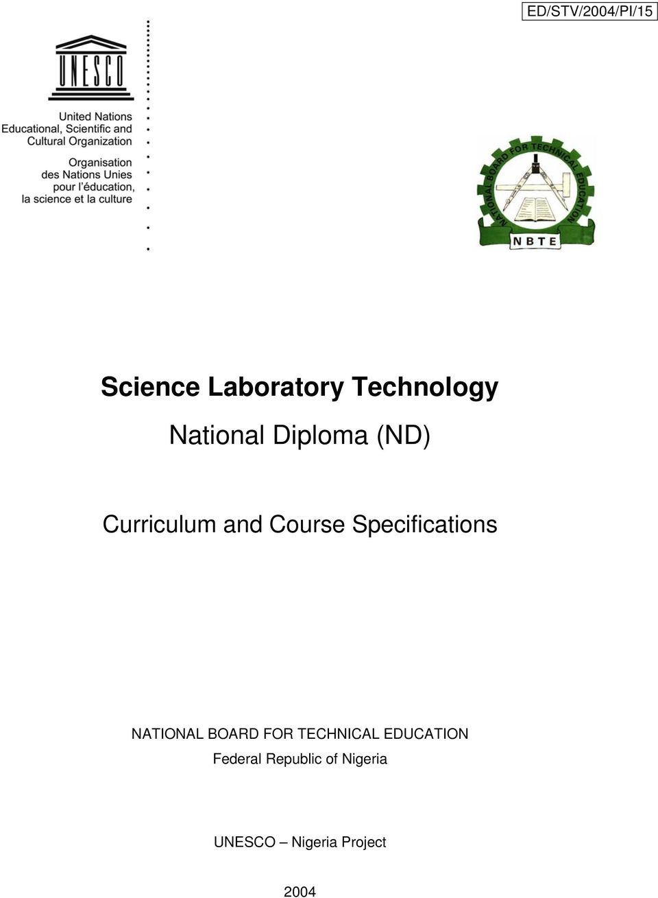 Specifications NATIONAL BOARD FOR TECHNICAL