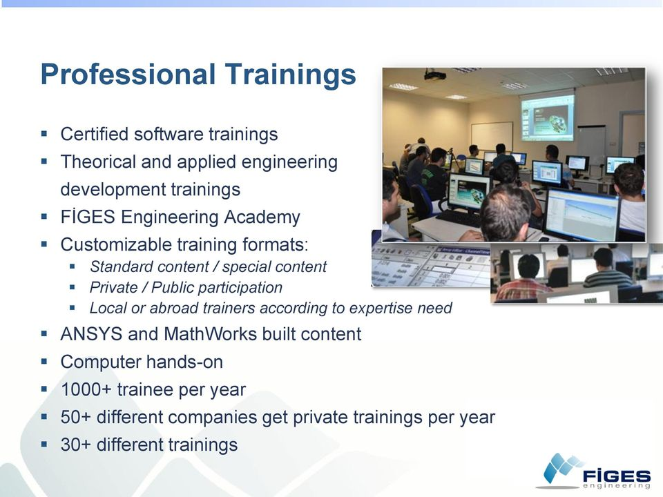 participation Local or abroad trainers according to expertise need ANSYS and MathWorks built content Computer