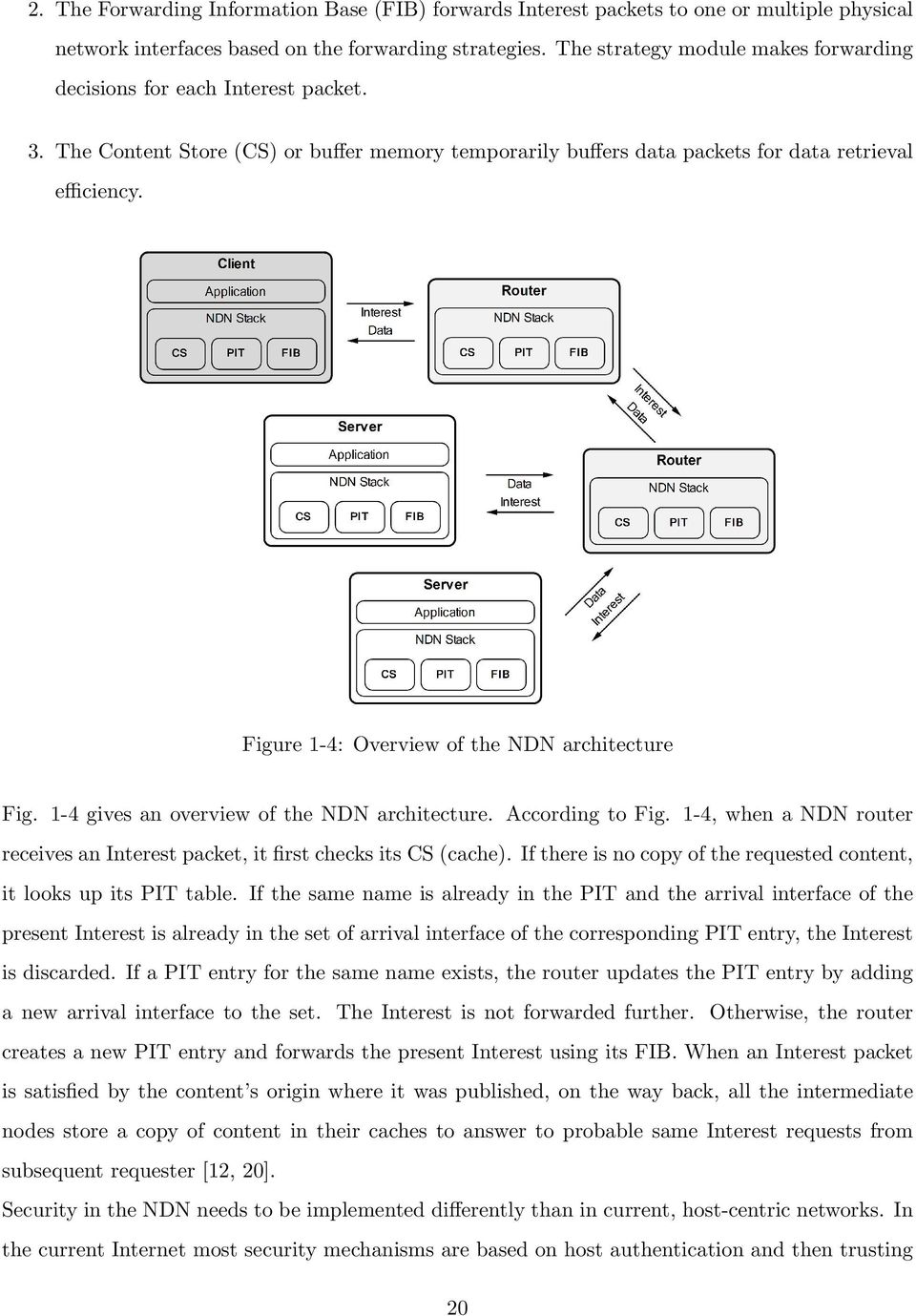 Figure 1-4: Overview of the NDN architecture Fig. 1-4 gives an overview of the NDN architecture. According to Fig. 1-4, when a NDN router receives an Interest packet, it first checks its CS (cache).
