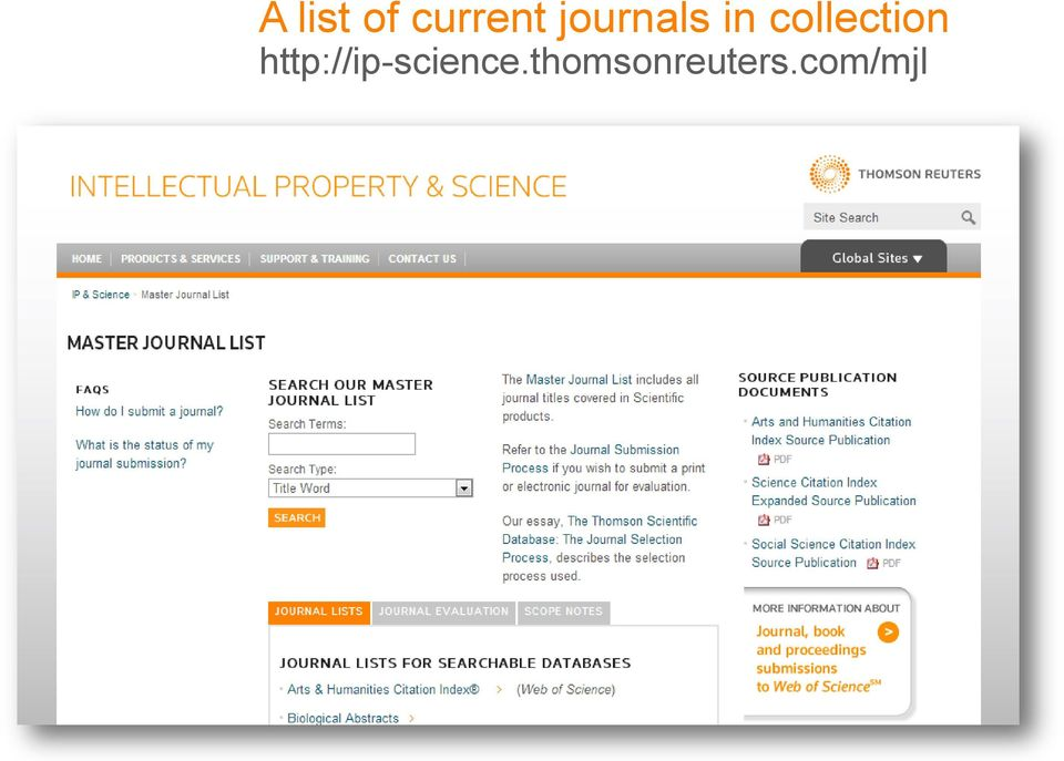 THOMSON REUTERS JOURNAL SELECTION PROCESS  Mariana Boletta