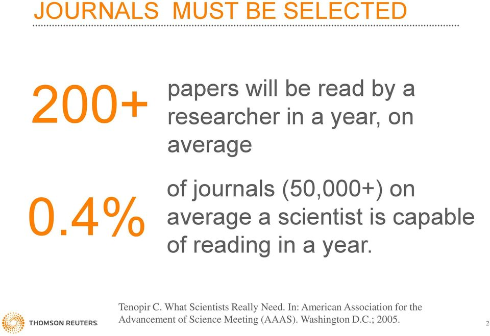 4% average a scientist is capable of reading in a year. Tenopir C.
