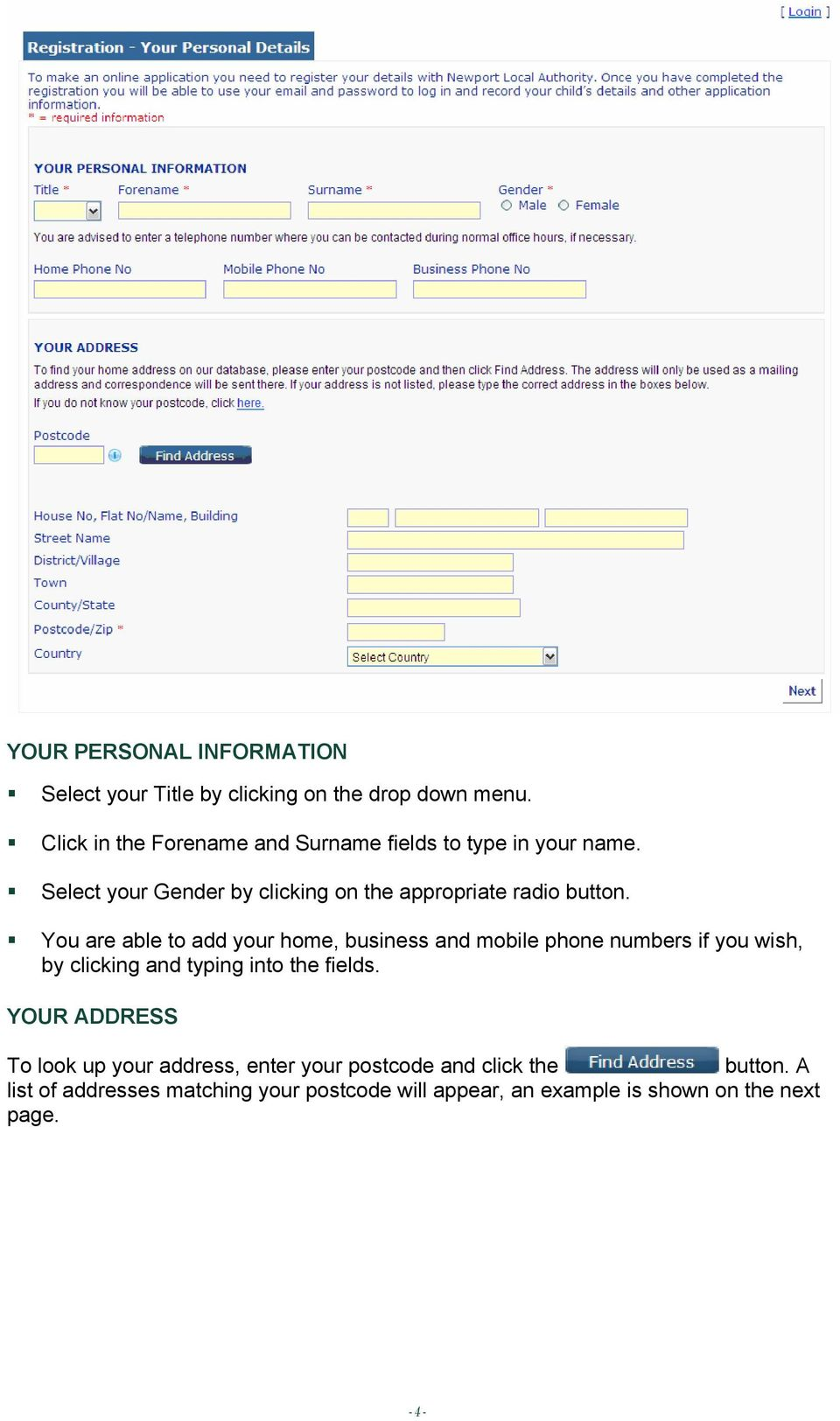 You are able to add your home, business and mobile phone numbers if you wish, by clicking and typing into the fields.