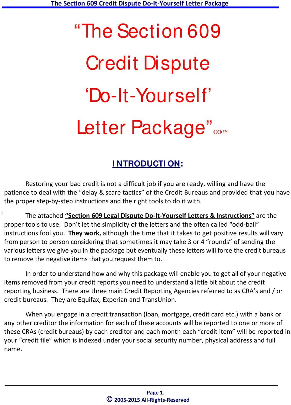 The section 609 credit dispute do it yourself letter package pdf for 609 letter template free