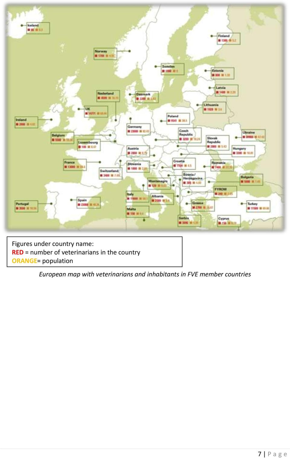 population European map with veterinarians