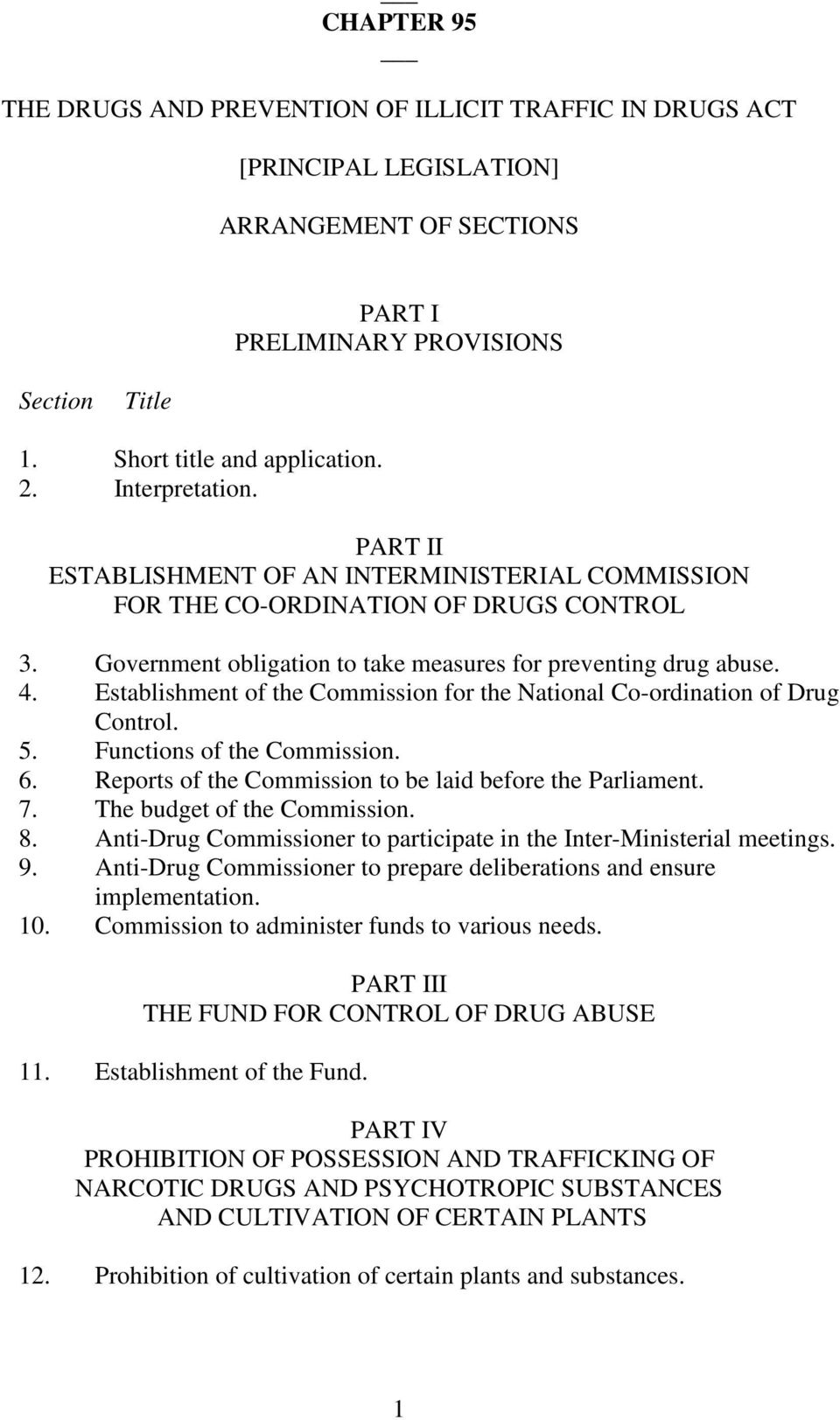 Establishment of the Commission for the National Co-ordination of Drug Control. 5. Functions of the Commission. 6. Reports of the Commission to be laid before the Parliament. 7.